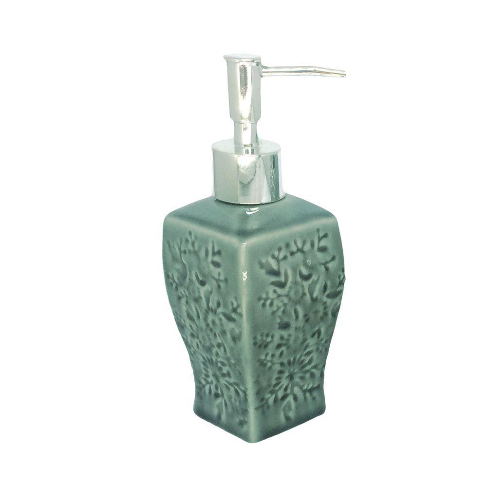 Kit Para Banheiro Verde  Escuro Flores 3 Peças Sabonete Liquido  - Shop Ud