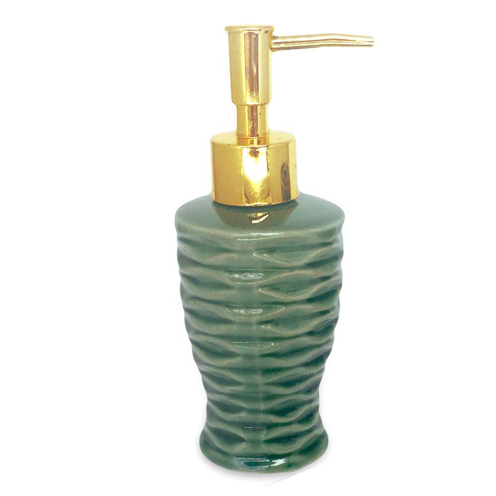 Kit Para Banheiro Verde Ondas 3 Peças Sabonete Liquido  - Shop Ud