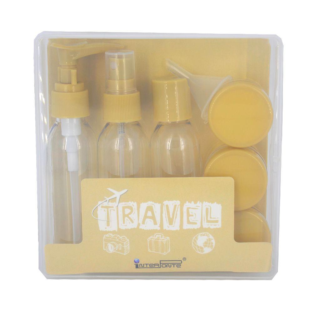 Kit para Viagem Mini Frascos com 9 Peças - Amarelo  - Shop Ud