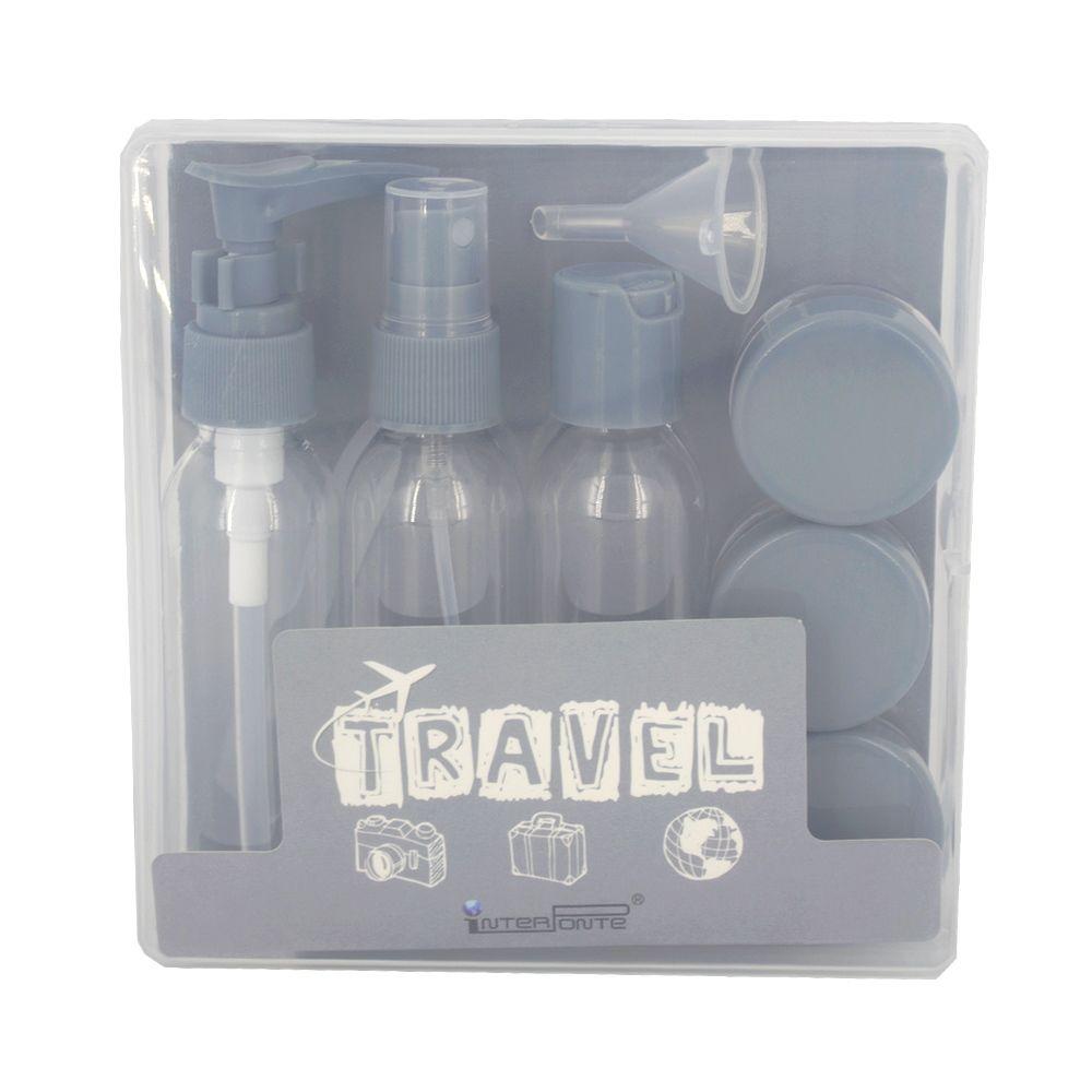 Kit para Viagem Mini Frascos com 9 Peças - Cinza  - Shop Ud