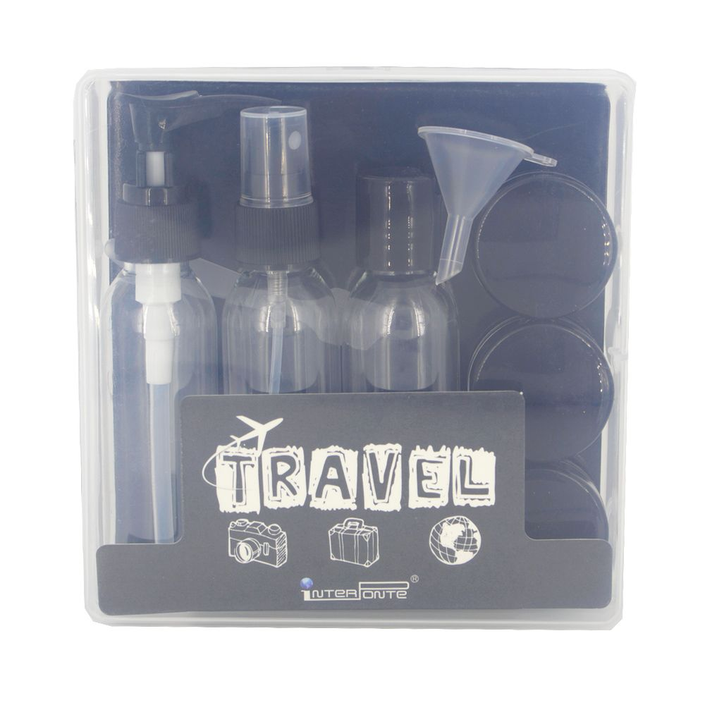 Kit para Viagem Mini Frascos com 9 Peças - Preto  - Shop Ud