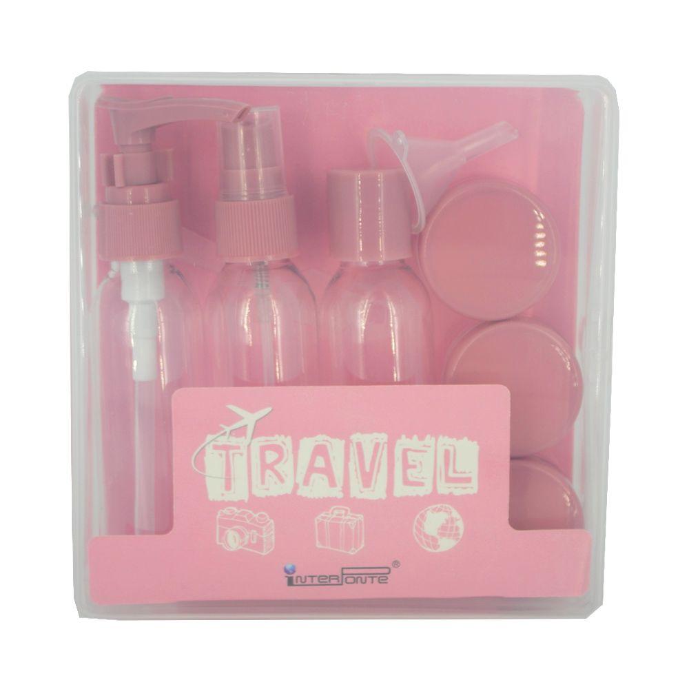 Kit para Viagem Mini Frascos com 9 Peças - Rosa  - Shop Ud