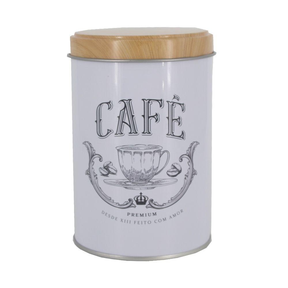 Lata Branca Rústica - Redondo - Café - 13cm x 9,2cm x 9,2cm  - Shop Ud