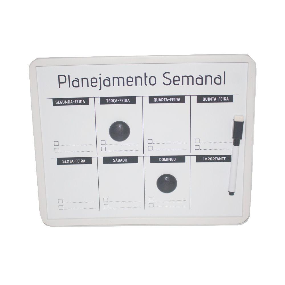 Lousa Magnética Planejamento Semanal Caneta - Branca 24x30cm