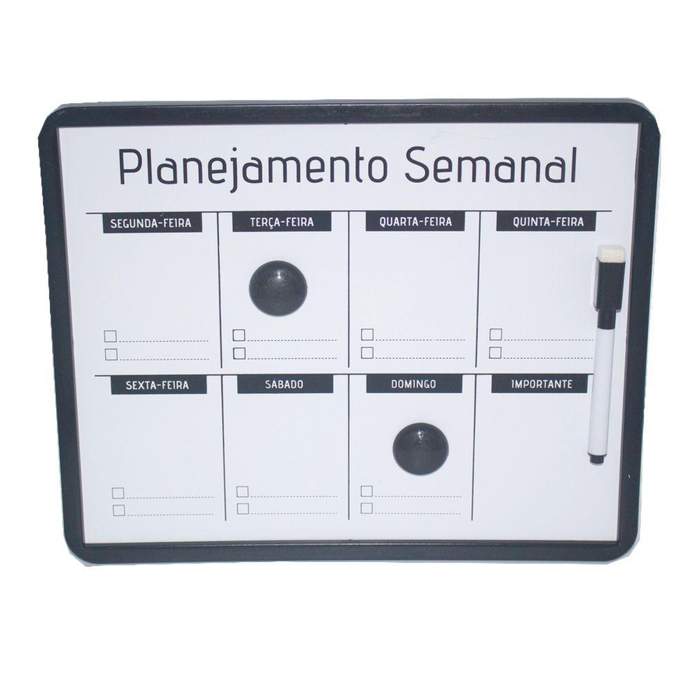 Lousa Magnética Planejamento Semanal Preta 24x30- com caneta