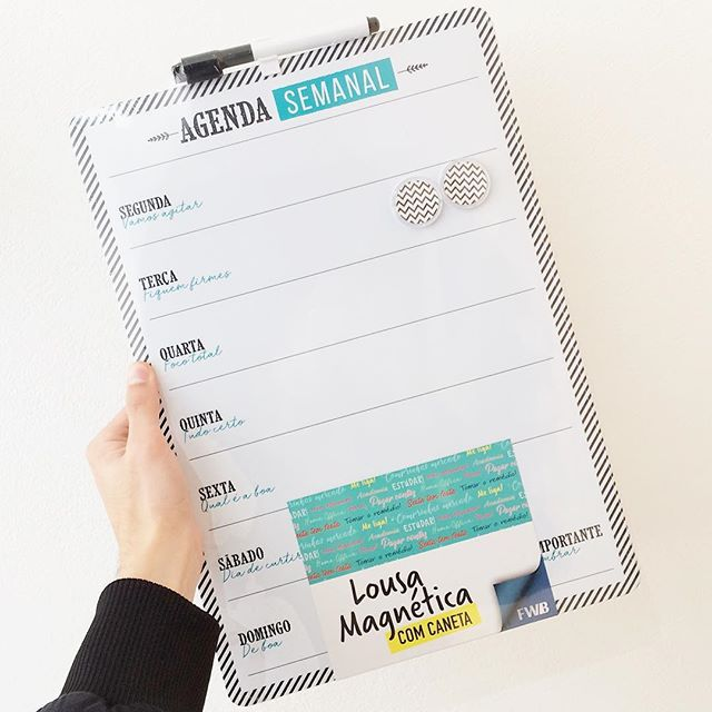 Lousa Planejamento Semanal Magnética Com Imã e Caneta  - Shop Ud