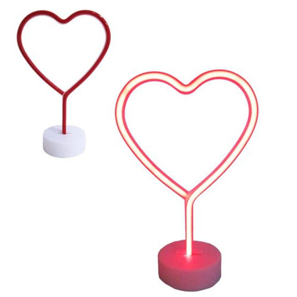 Luminária Abajur Coração Neon Led