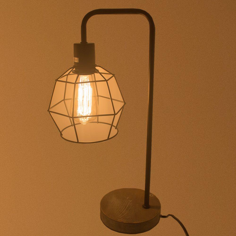 Luminária de Mesa com Lâmpada de Filamento - Preto  - Shop Ud