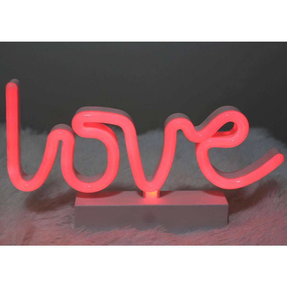 Luminária de Mesa Led Neon Vermelho Love  - Shop Ud