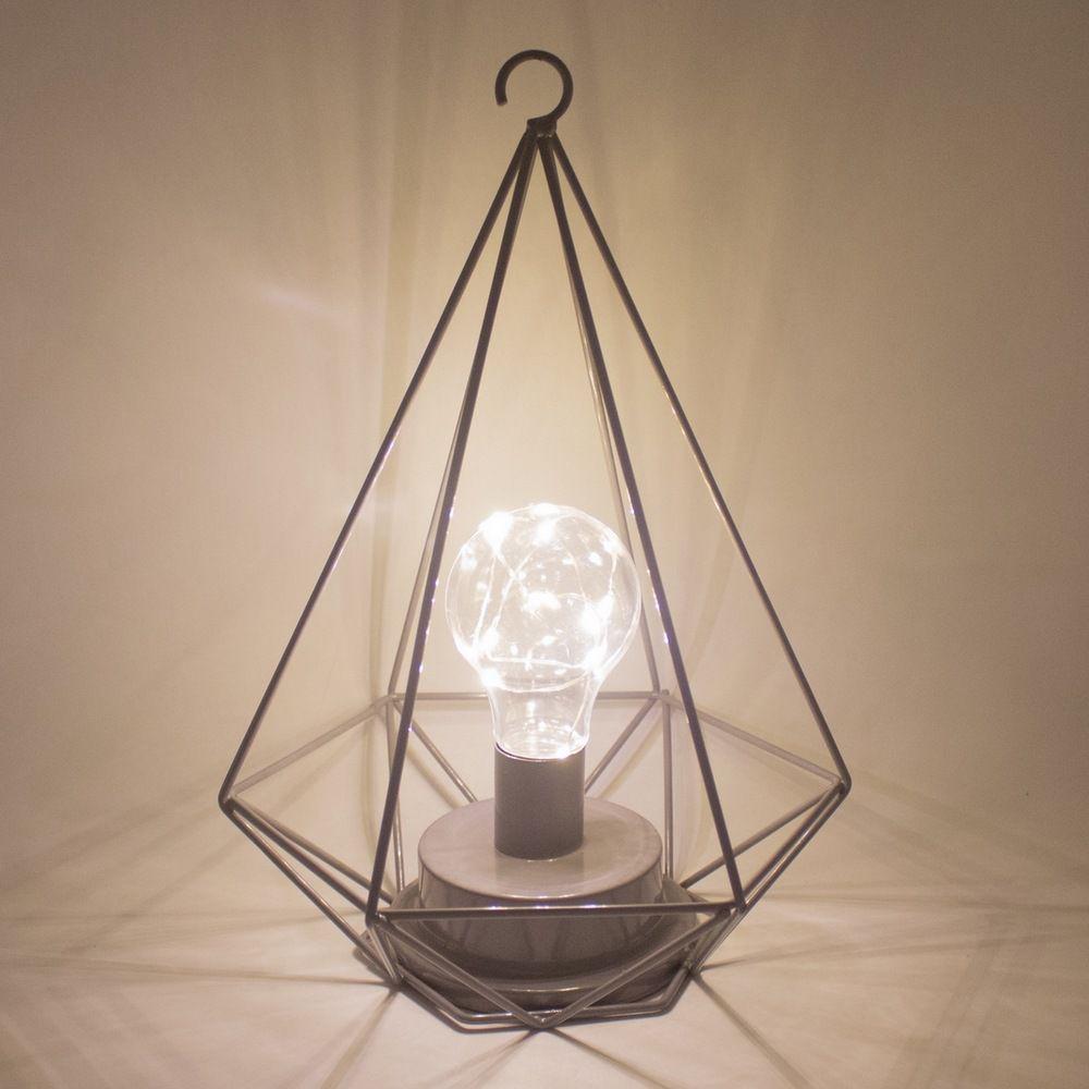 Luminária Decorativa com Gancho para Pendurar - Cinza  - Shop Ud