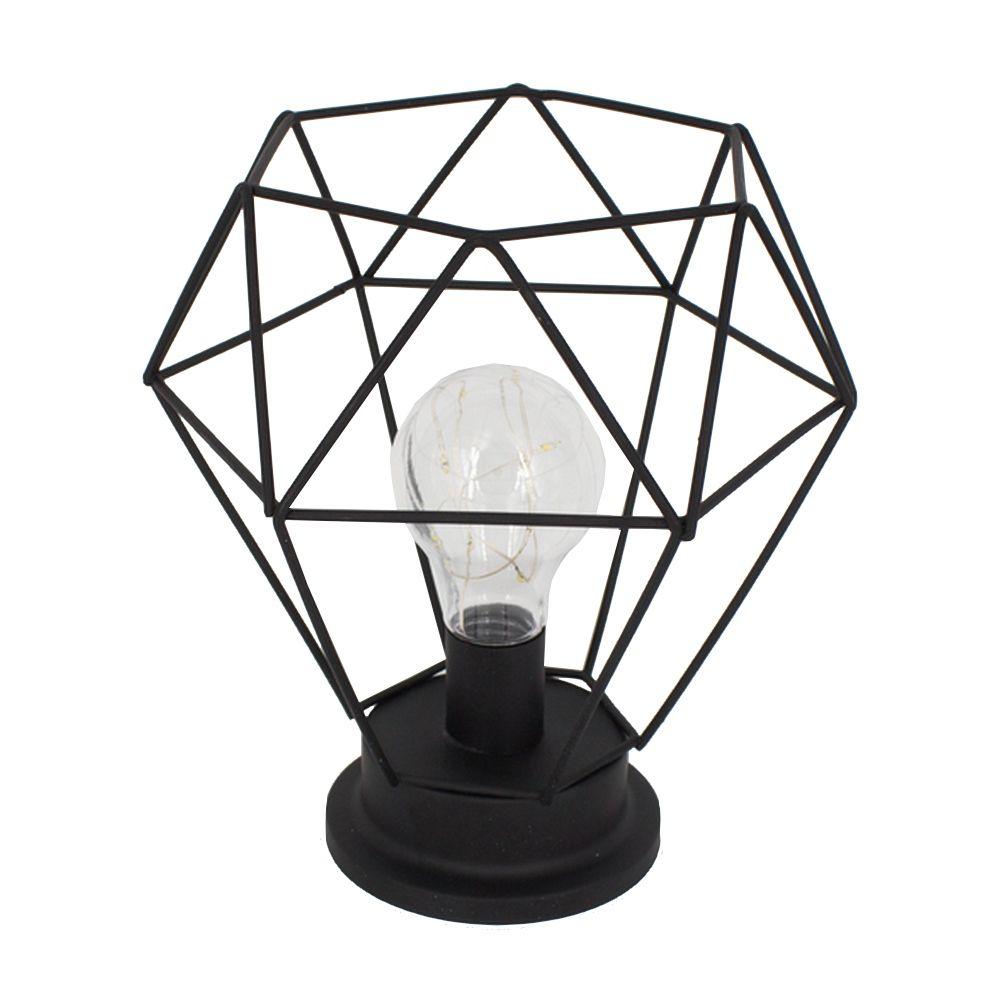 Luminária Decorativa de Mesa - Hexágono (Cinza)