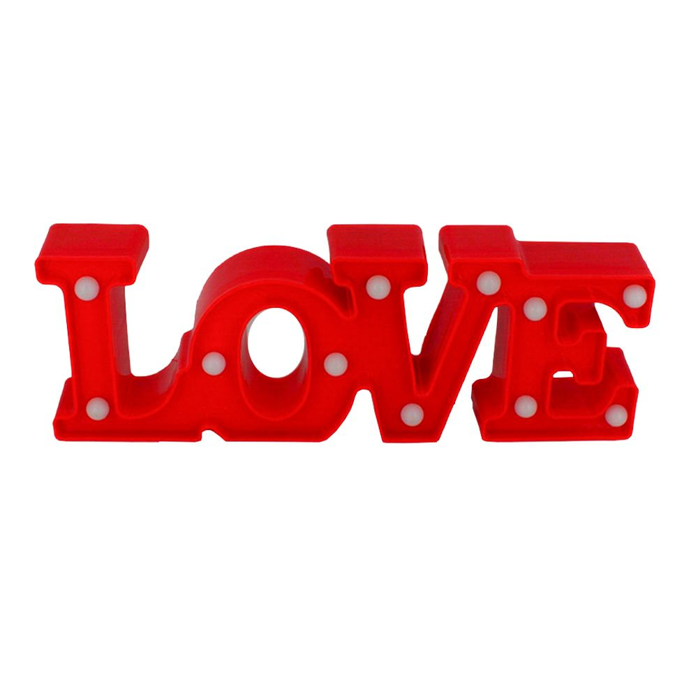 Luminária Decorativa LOVE com Luz de LED - Vermelha