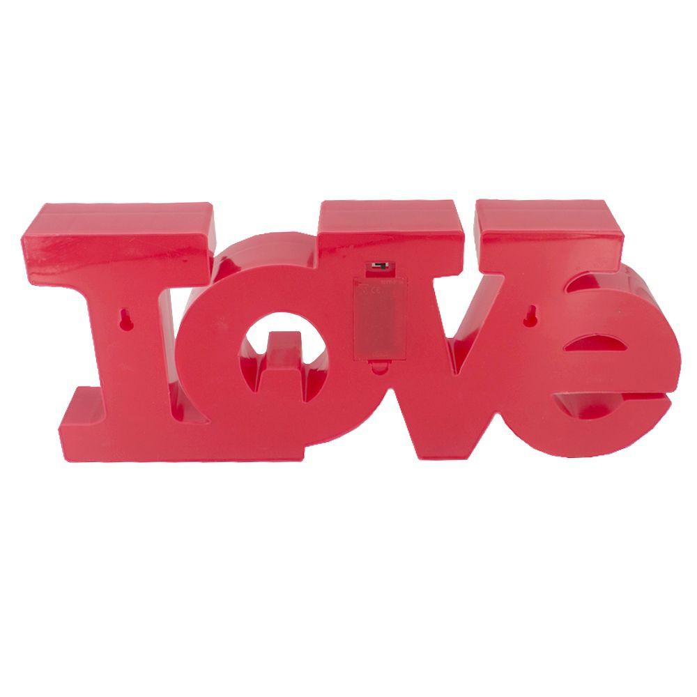 Luminária Decorativa LOVE Luz LED Amarela - Vermelha 40x17  - Shop Ud