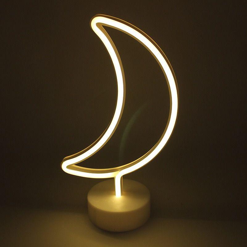 Luminária Lua Led Neon Amarela