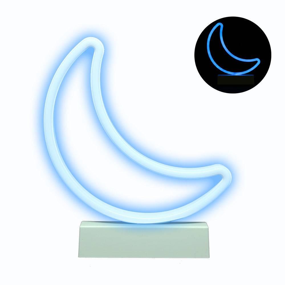 Luminária Lua Led Neon Azul