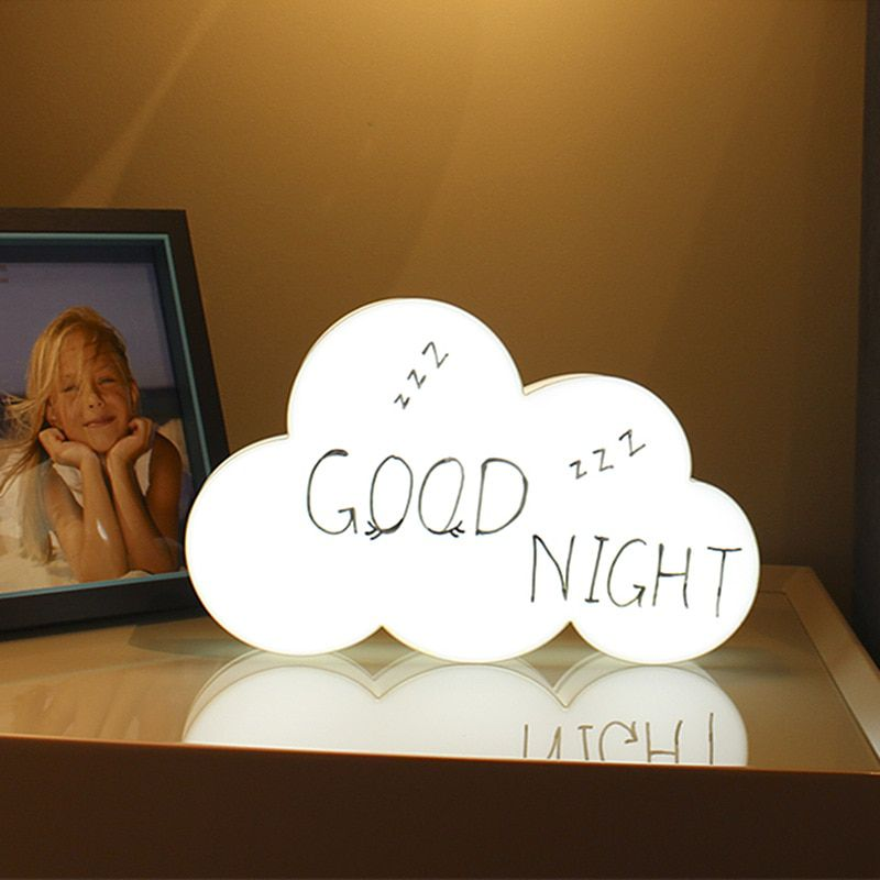 Luminária Nuvem Escrever Light Box Porta Recado +3 Canetas  - Shop Ud