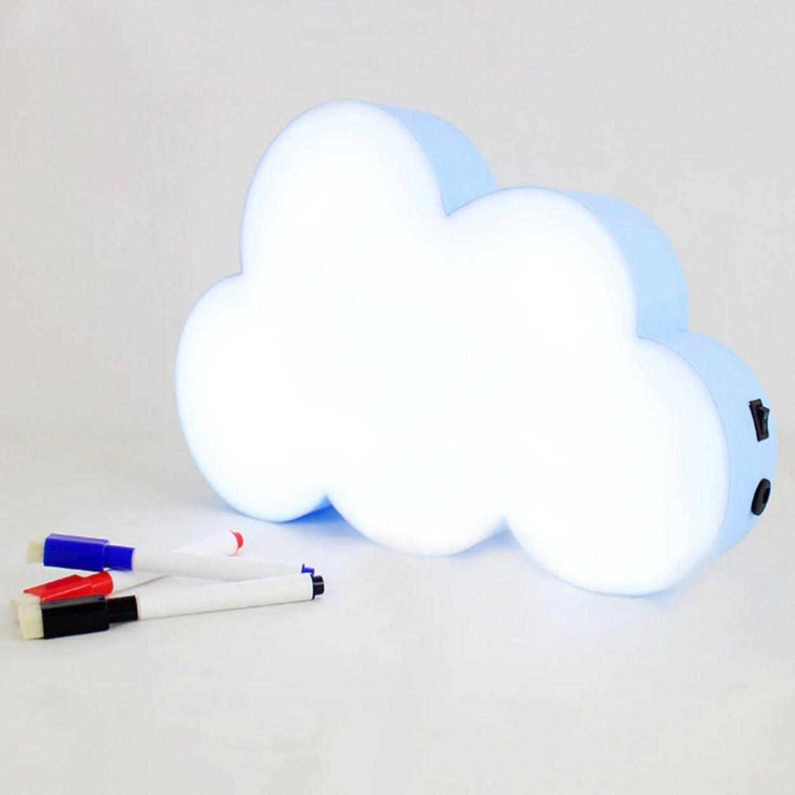 Luminária Nuvem Escrever Light Box Porta Recado +3 Canetas- Azul