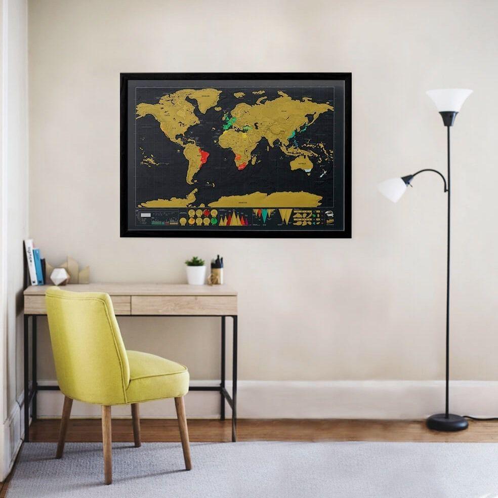 Mapa Mundi De Raspar Viagens Raspadinha Scratch Map 80x60 Cm  - Shop Ud
