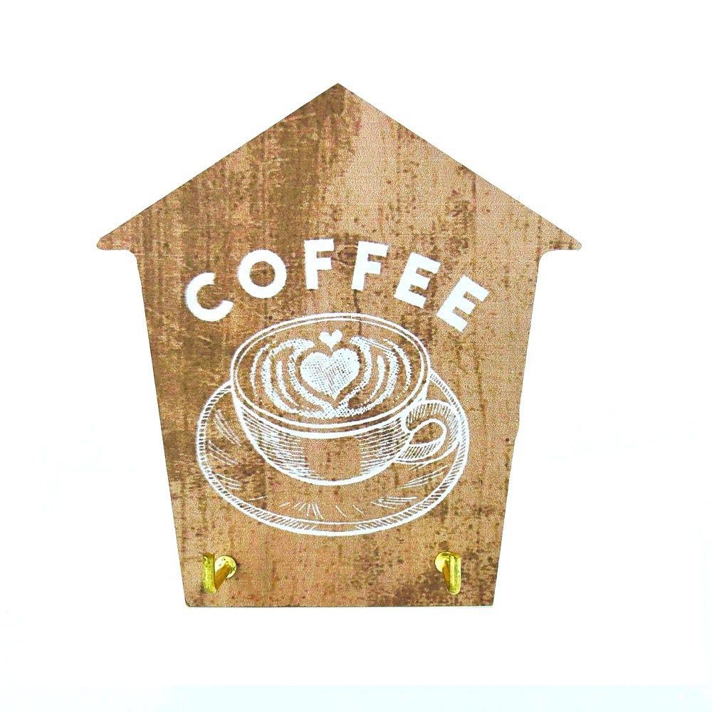 Mini Porta Chaves com 02 Ganchos – Coffee Marrom