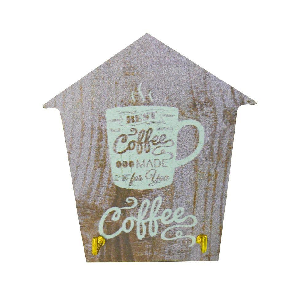Mini Porta Chaves com 02 Ganchos –Coffee Marrom e lilás