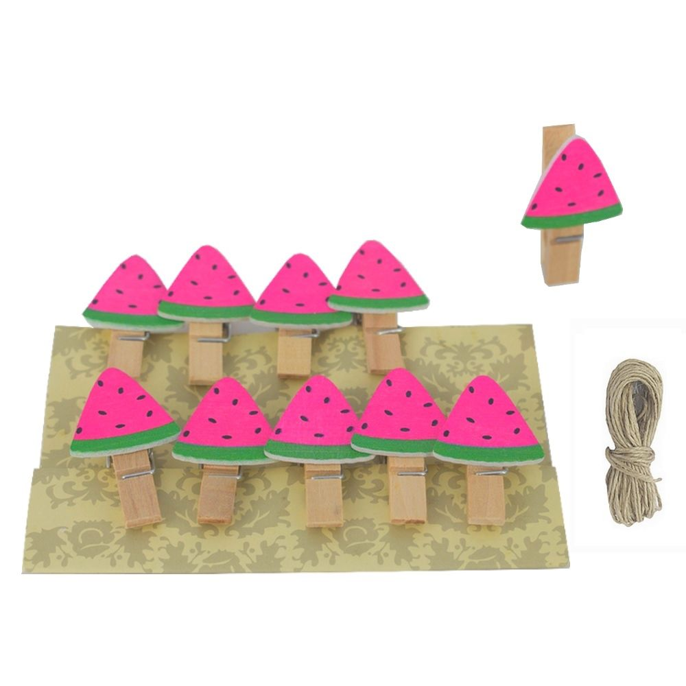 Mini Prendedor de Melancia Rosa com Corda - Kit 10 unidades  - Shop Ud