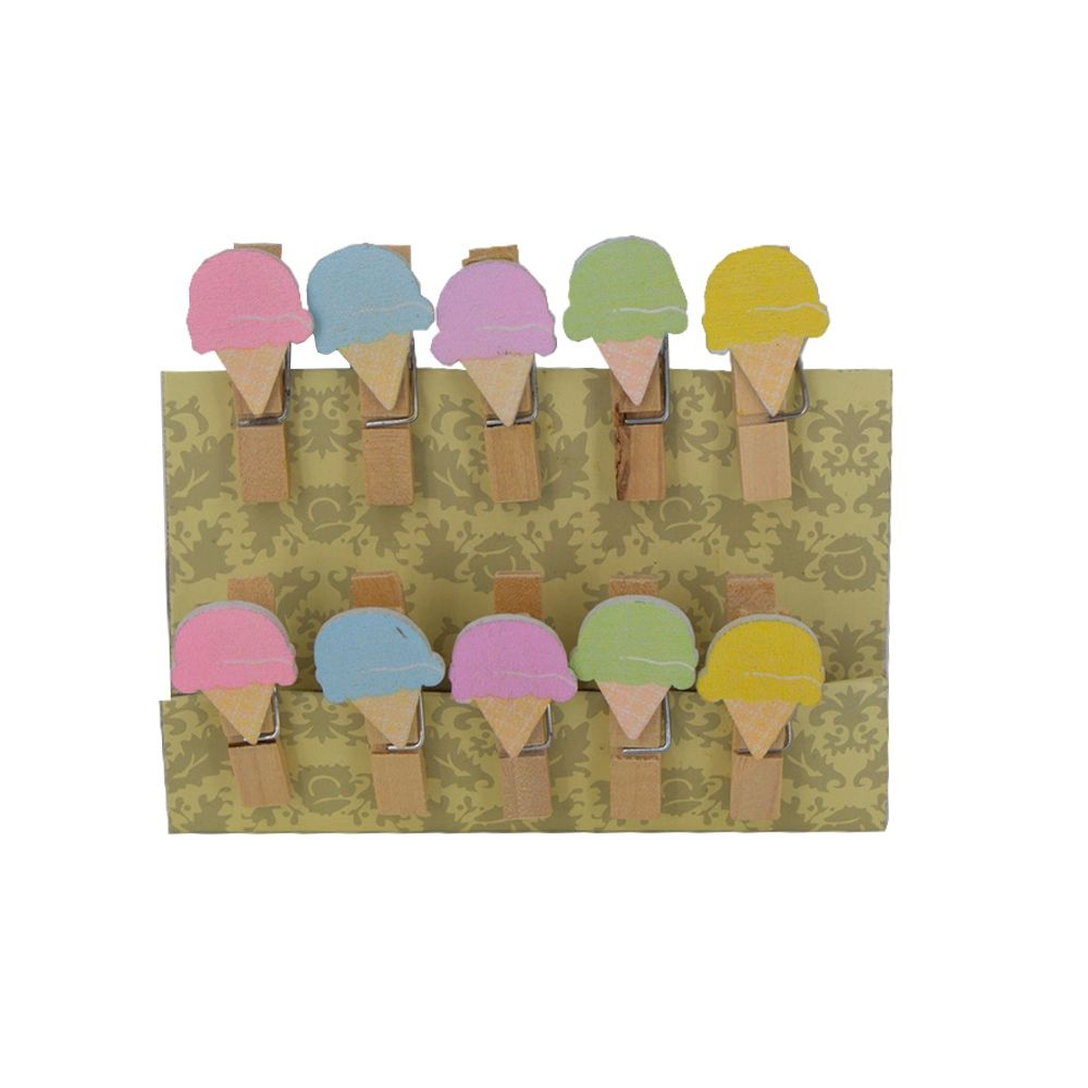 Mini Prendedor Sorvete Colorido com Corda - Kit 10 unidades  - Shop Ud