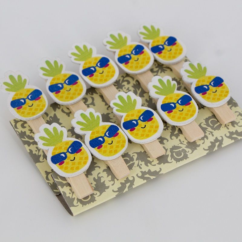 Mini Prendedores Decorados Abacaxi- kit 10 peças  - Shop Ud