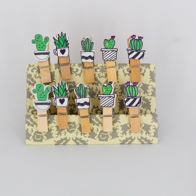 Mini Prendedores Decorados Cactos- kit 10 peças