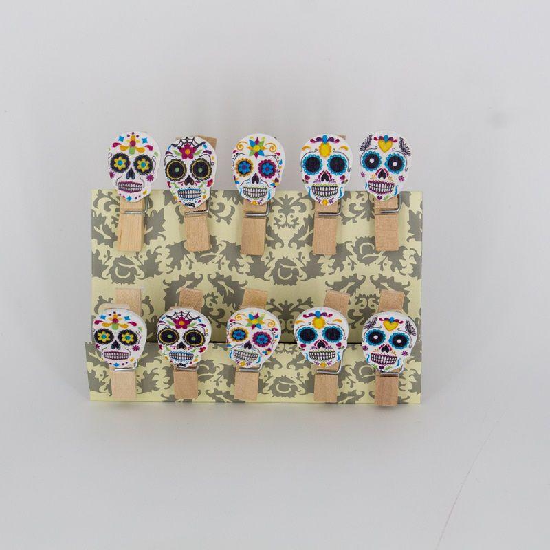 Mini Prendedores Decorados Caveira Mexicana- Kit 10 peças