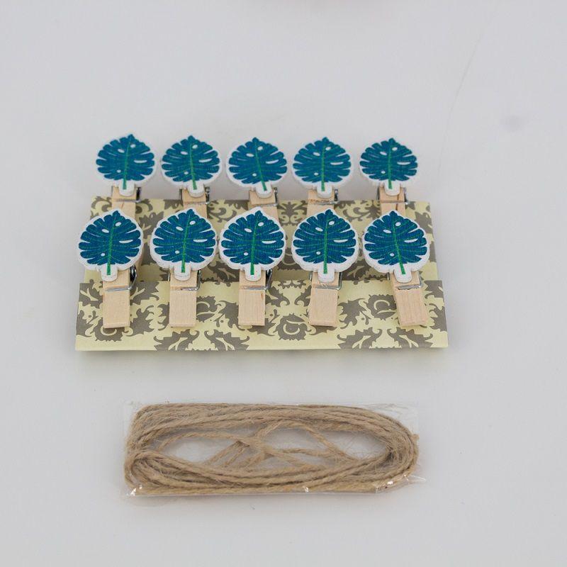 Mini Prendedores Decorados Folha Azul- kit 10 peças  - Shop Ud