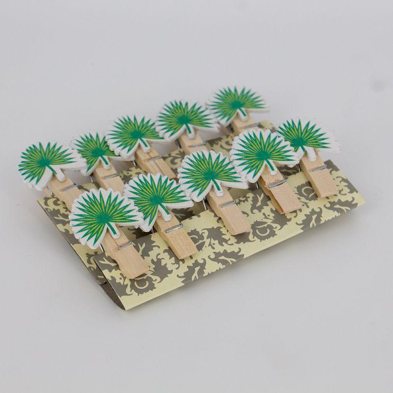 Mini Prendedores Decorados Folhagem Verde- kit 10 peças  - Shop Ud