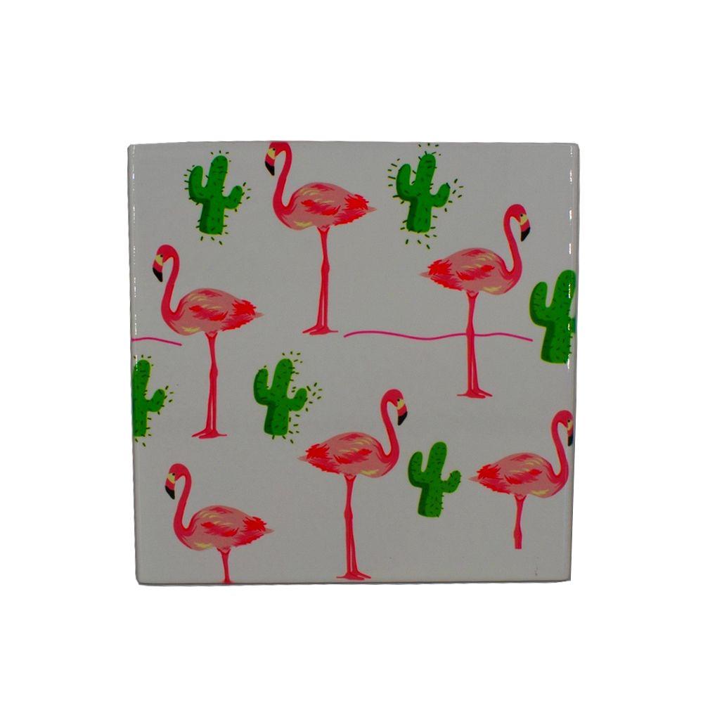 Mini Quadro Decorativo – Flamingos e Cactos