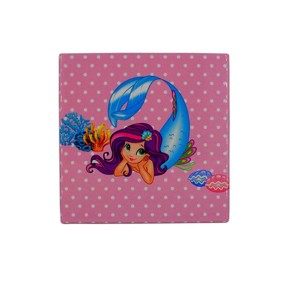 Mini Quadro Decorativo – Sereia com Fundo Rosa  - Shop Ud