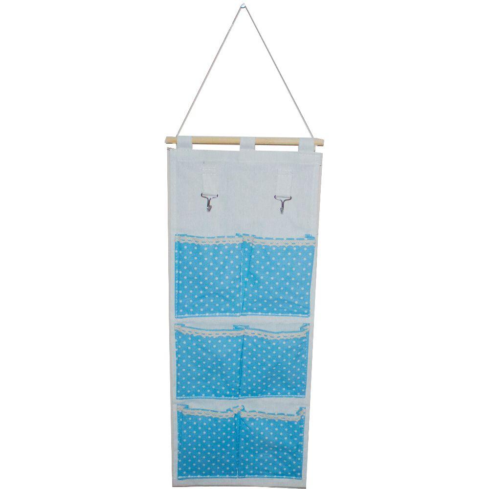 Moldura Organizadora em Tecido - Azul Claro com Bolinha Branca - 6 nichos
