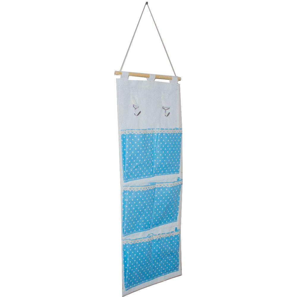 Moldura Organizadora em Tecido - Azul Claro com Bolinha Branca - 6 nichos  - Shop Ud