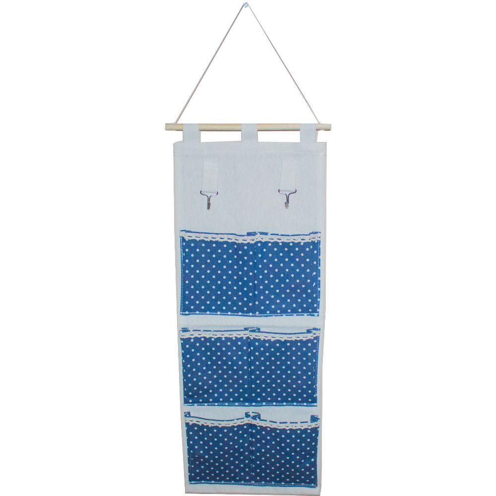 Moldura Organizadora em Tecido - Azul Escuro com Bolinha Branca - 6 nichos