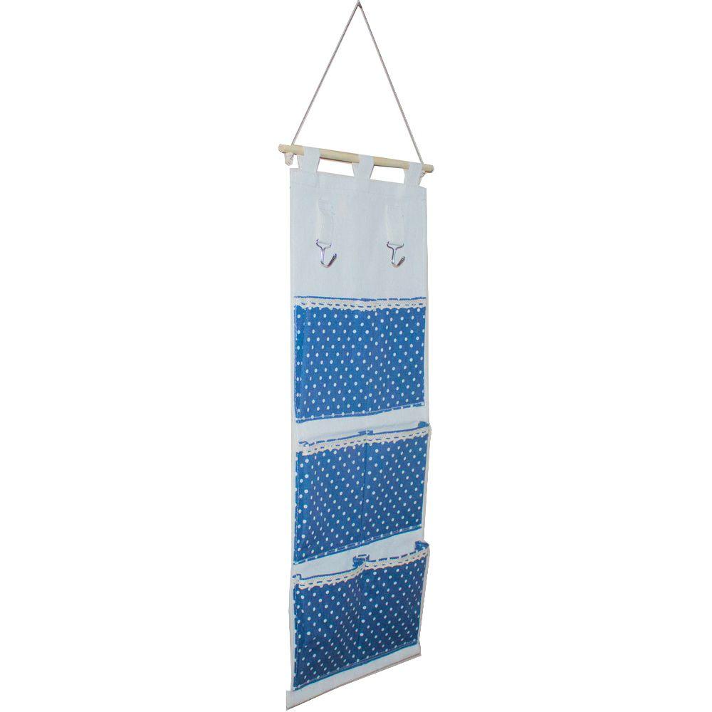 Moldura Organizadora em Tecido - Azul Escuro com Bolinha Branca - 6 nichos  - Shop Ud