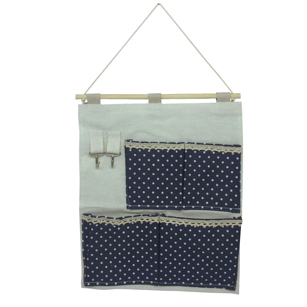 Moldura Organizadora Azul Marinho com Bolinha Branca- 4 nichos