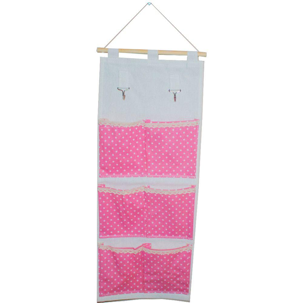 Moldura Organizadora em Tecido - Rosa com Bolinha Branca - 6 nichos
