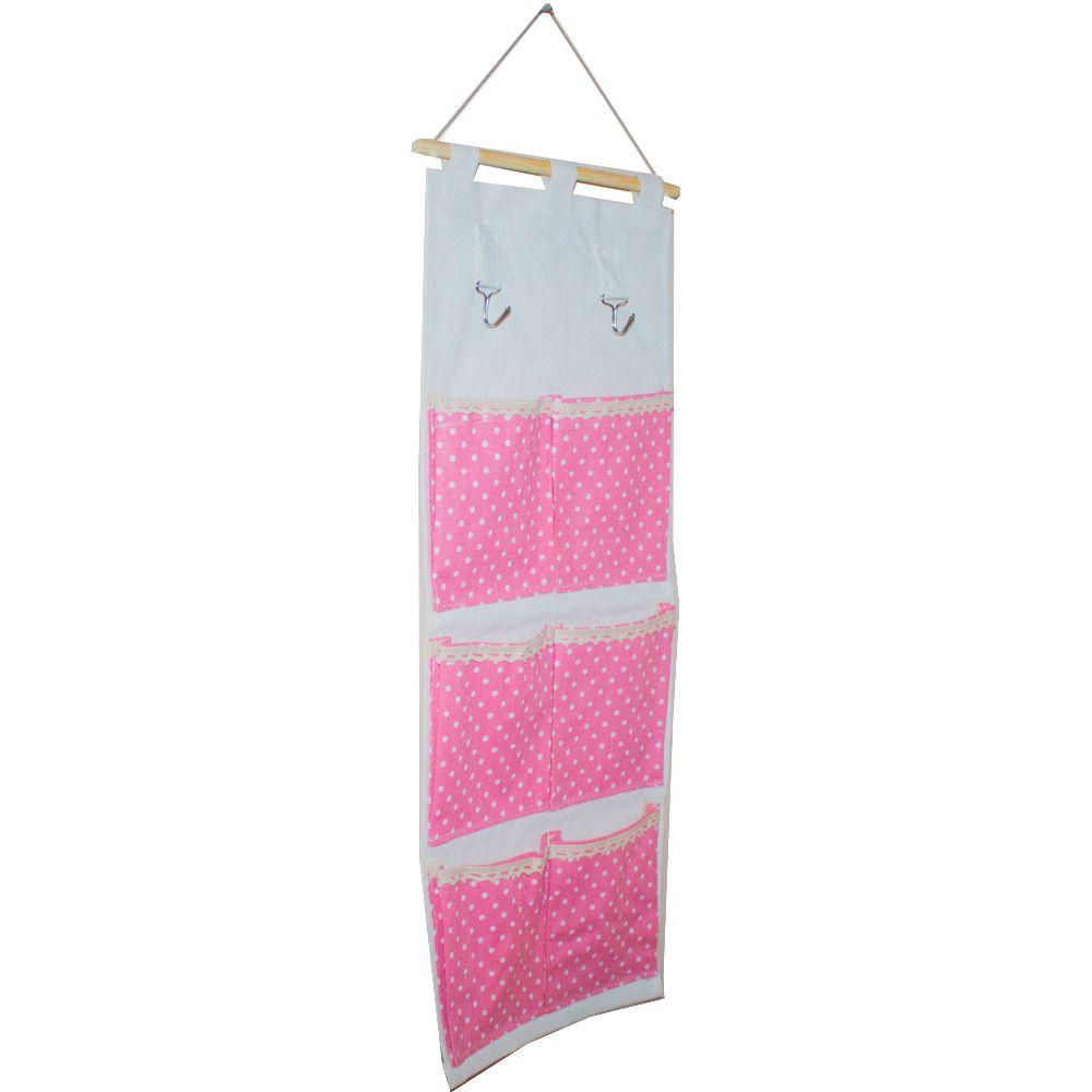 Moldura Organizadora em Tecido - Rosa com Bolinha Branca - 6 nichos  - Shop Ud