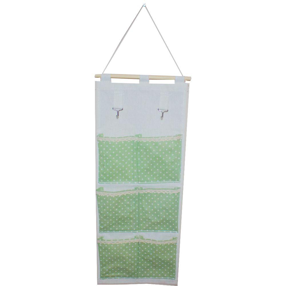 Moldura Organizadora em Tecido - Verde com Bolinha Branca - 6 nichos