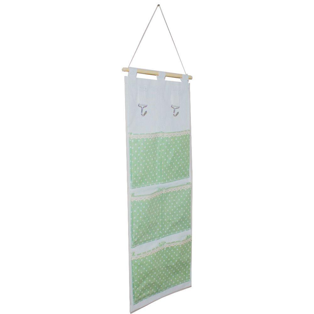 Moldura Organizadora em Tecido - Verde com Bolinha Branca - 6 nichos  - Shop Ud