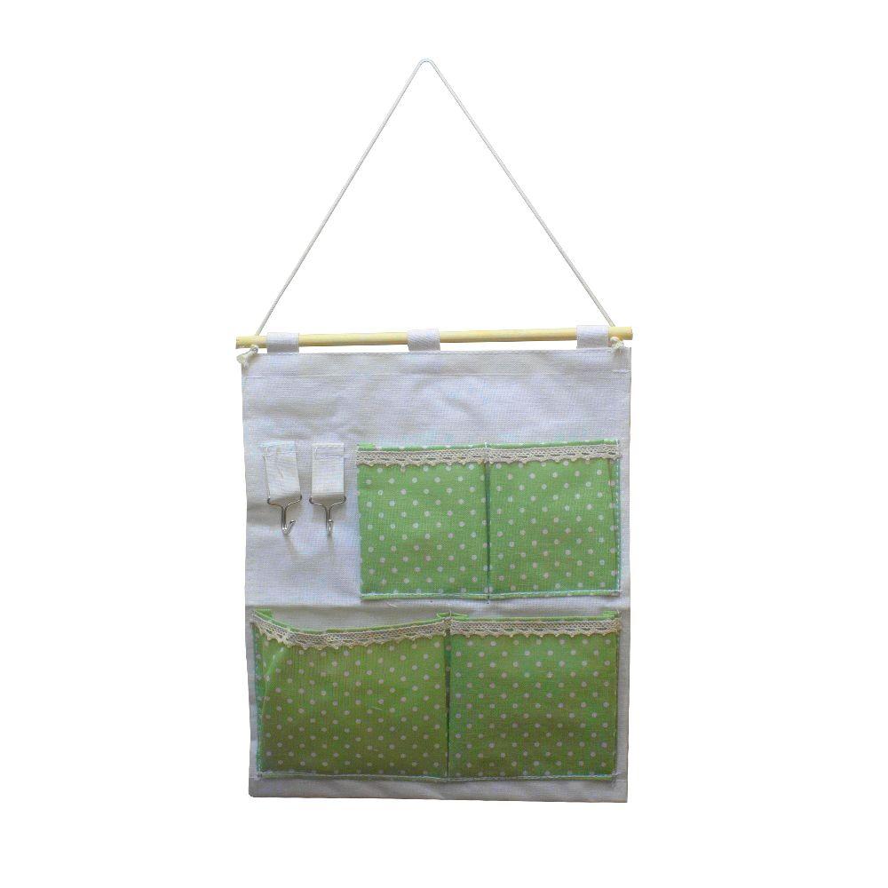 Moldura Organizadora Verde com Bolinha Branca- 4 nichos