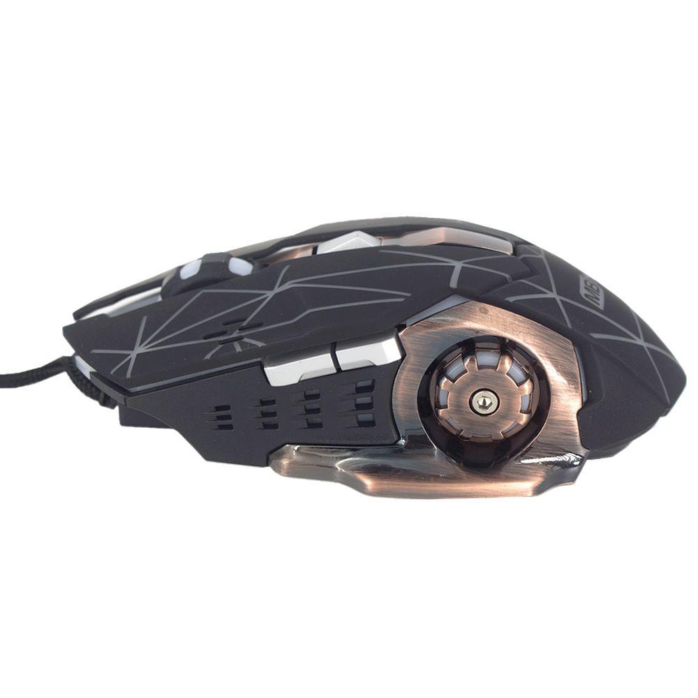 Mouse Gamer Cabo USB Óptico com Luzes 3600 Dpi 6 botões