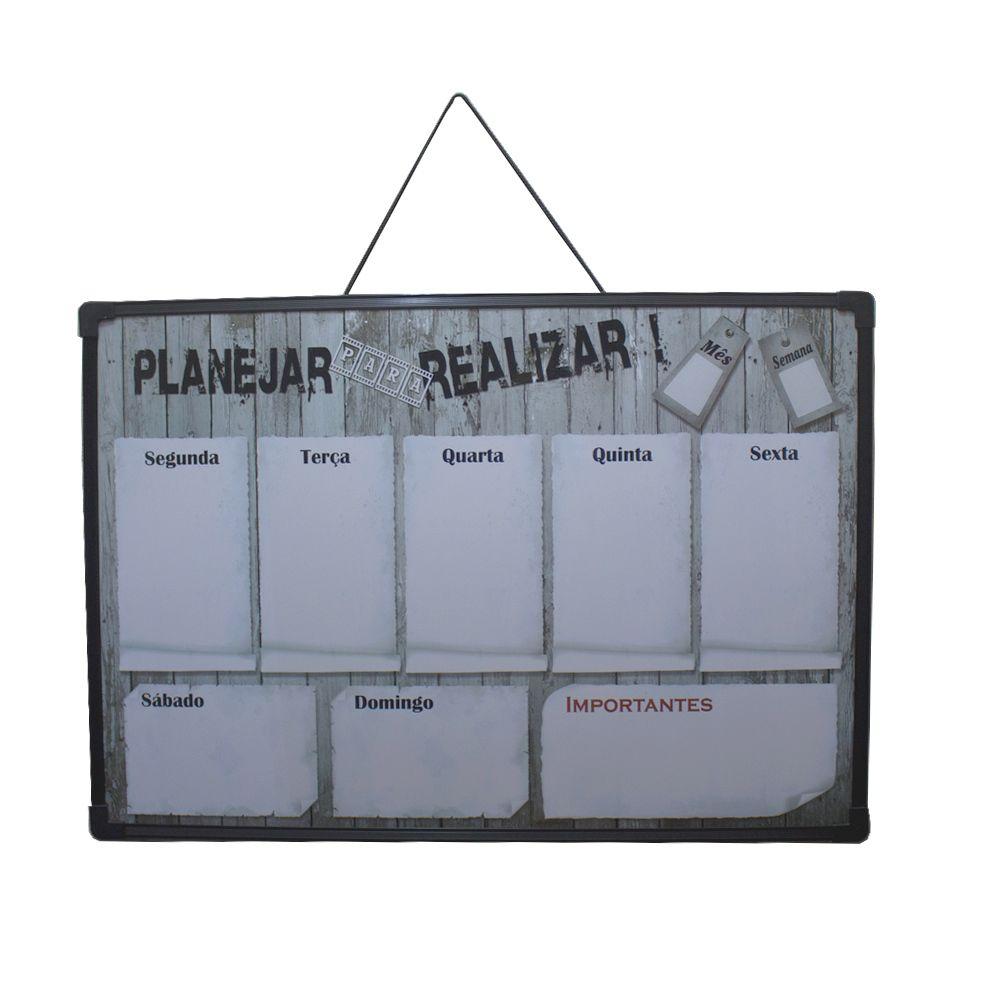 Mural de Recados Semanal - Planejar para Realizar (Marrom)