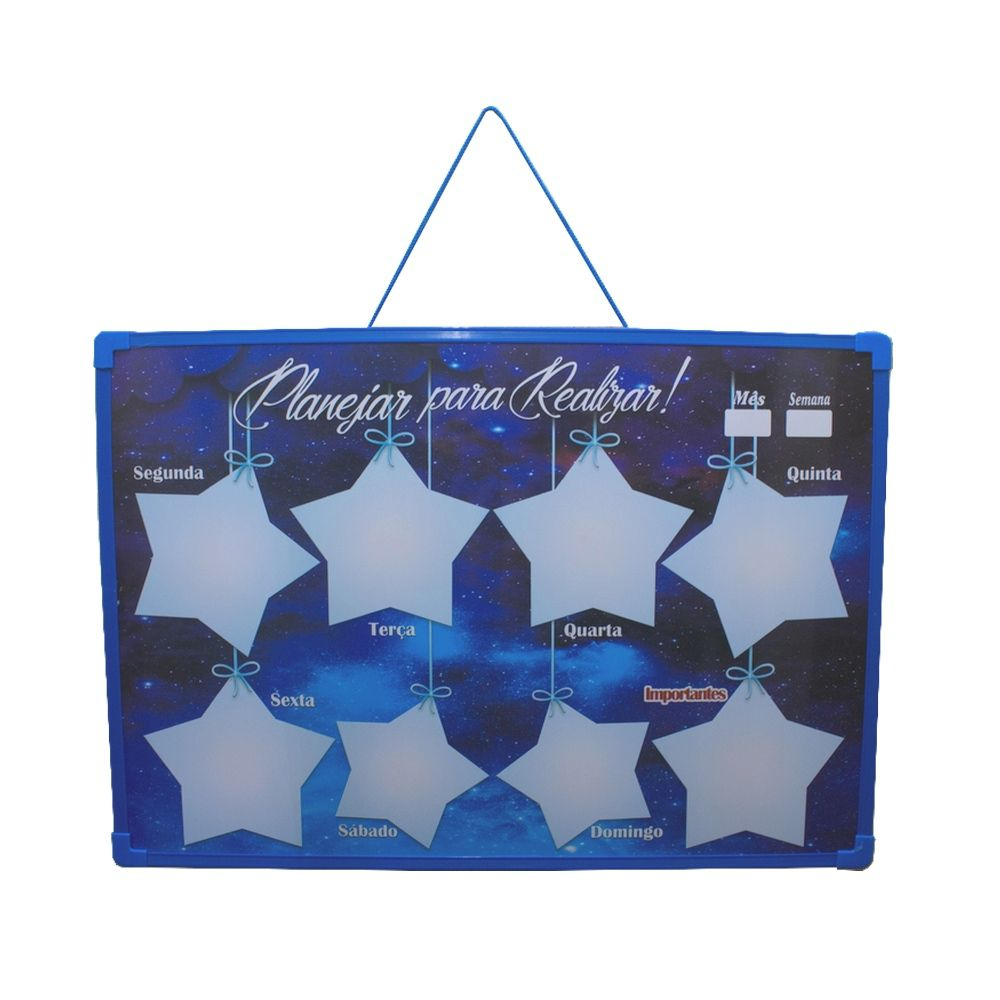 Mural Recados Semanal Mensal Azul Planejar Realizar Estrelas  - Shop Ud