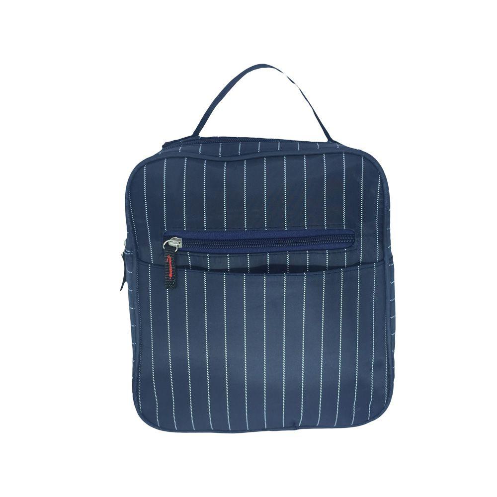 Necessaire Bolsa Térmica Porta Marmita Lancheira Masculina Azul Marinho