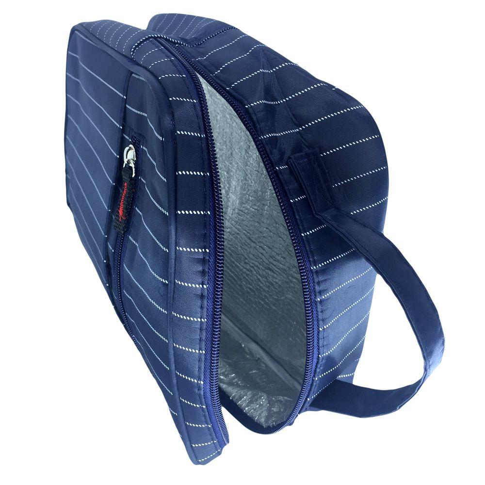 Necessaire Bolsa Térmica Porta Marmita Lancheira Masculina Azul Marinho  - Shop Ud