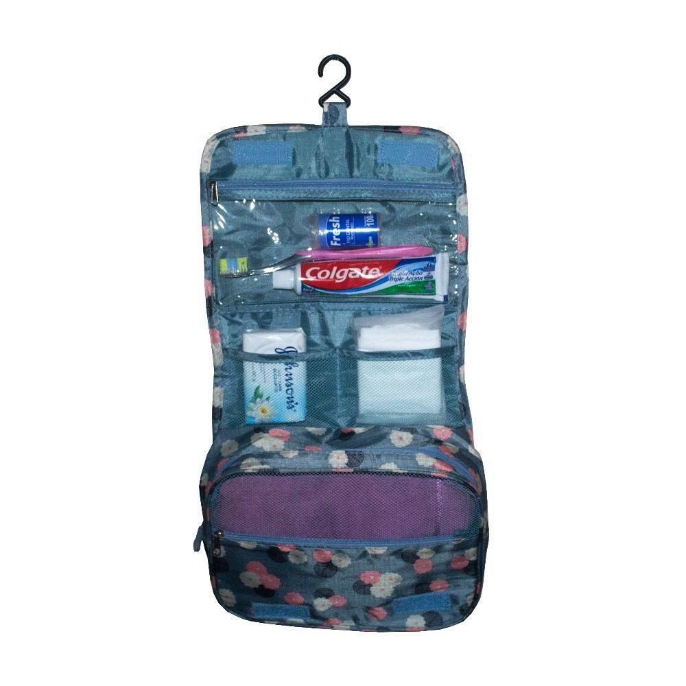 Necessaire Pendurar para Viagem com Gancho Azul com Flores  - Shop Ud