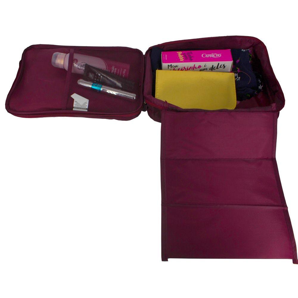 Necessaire Portátil para Viagem 03 Divisórias - Vinho  - Shop Ud